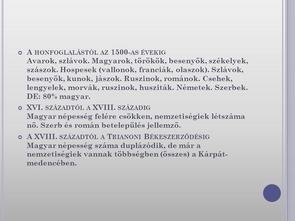A HONFOGLALÁSTÓL AZ 1500- AS ÉVEKIG Avarok, szlávok. Magyarok, törökök, besenyők, székelyek, szászok. Hospesek (vallonok, franciák, olaszok). Szlávok,