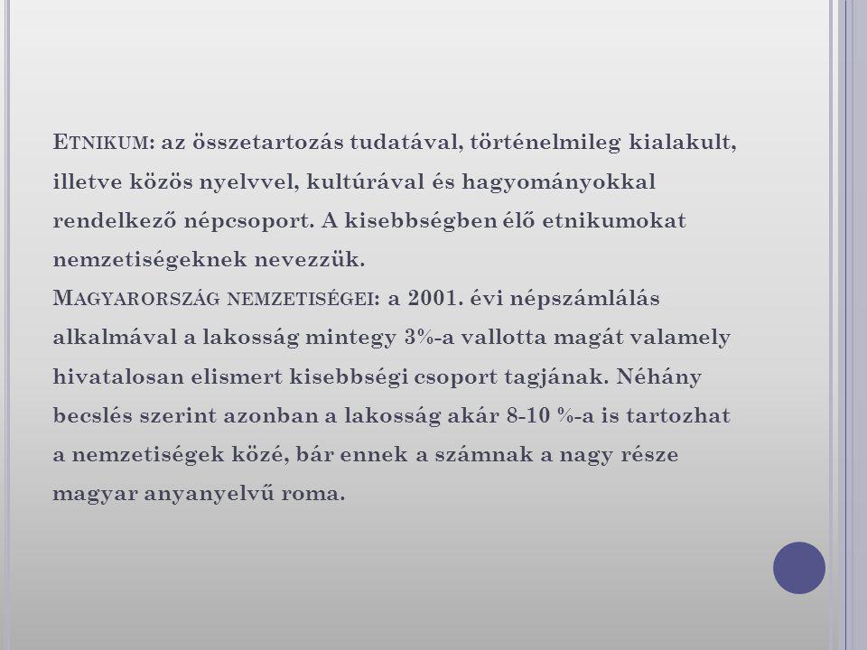 E TNIKUM : az összetartozás tudatával, történelmileg kialakult, illetve közös nyelvvel, kultúrával és hagyományokkal rendelkező népcsoport. A kisebbsé