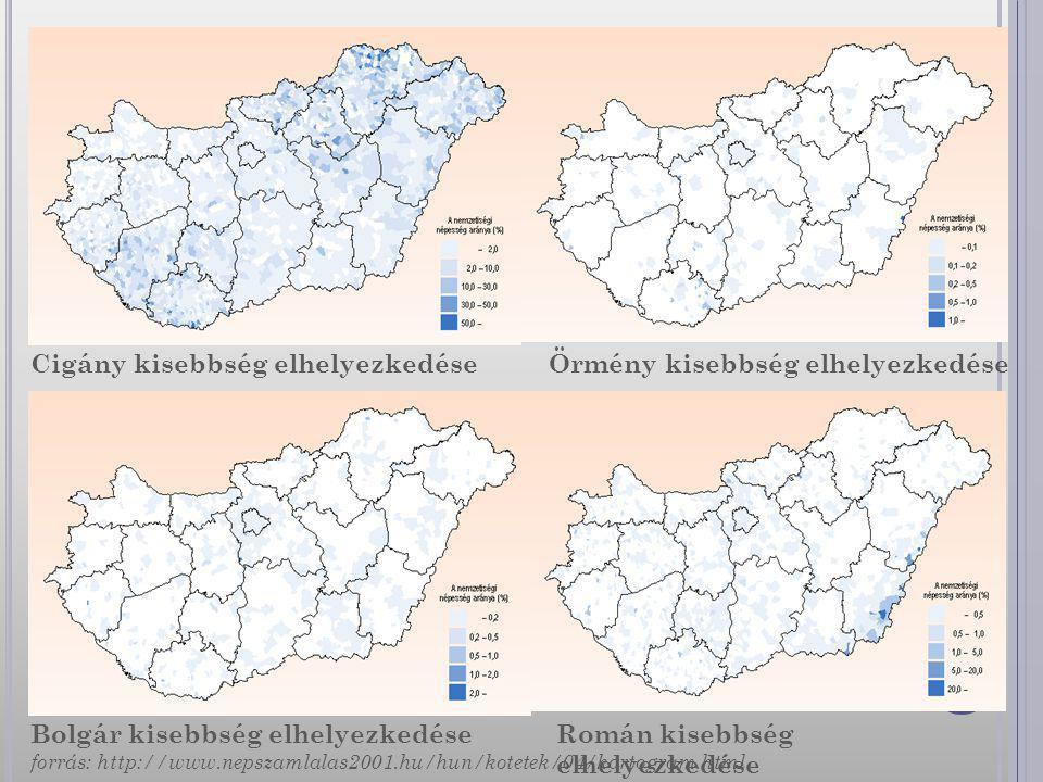 Cigány kisebbség elhelyezkedése Bolgár kisebbség elhelyezkedése Örmény kisebbség elhelyezkedése Román kisebbség elhelyezkedése forrás: http://www.neps