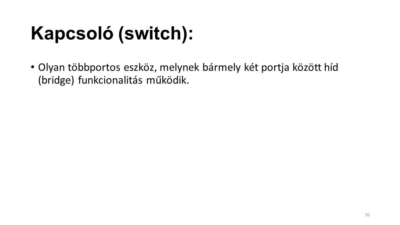 Kapcsoló (switch): Olyan többportos eszköz, melynek bármely két portja között híd (bridge) funkcionalitás működik. 36
