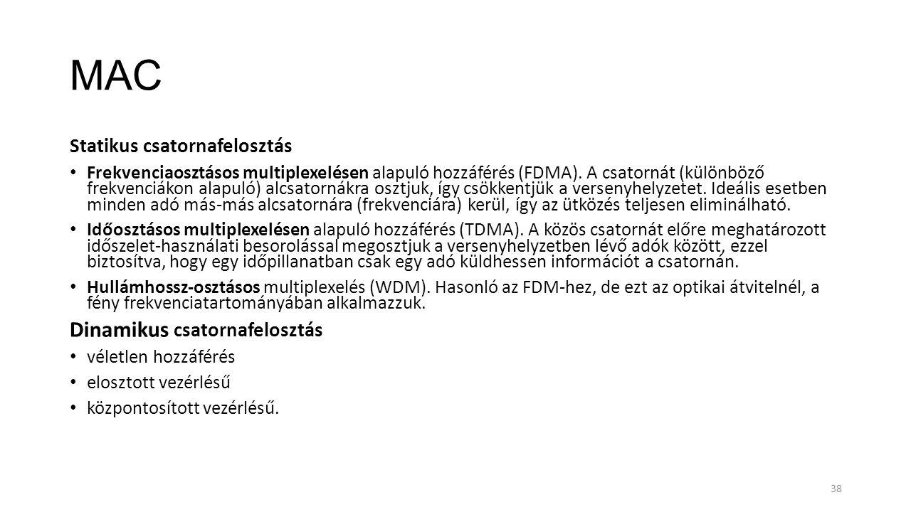 MAC Statikus csatornafelosztás Frekvenciaosztásos multiplexelésen alapuló hozzáférés (FDMA). A csatornát (különböző frekvenciákon alapuló) alcsatornák