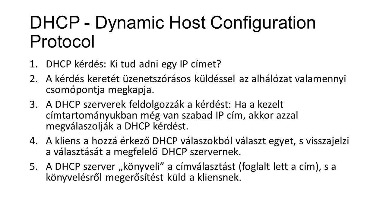 DHCP - Dynamic Host Configuration Protocol 1.DHCP kérdés: Ki tud adni egy IP címet? 2.A kérdés keretét üzenetszórásos küldéssel az alhálózat valamenny