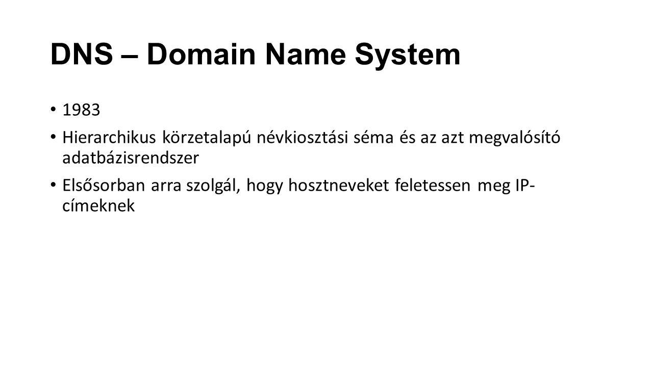 DNS – Domain Name System 1983 Hierarchikus körzetalapú névkiosztási séma és az azt megvalósító adatbázisrendszer Elsősorban arra szolgál, hogy hosztne