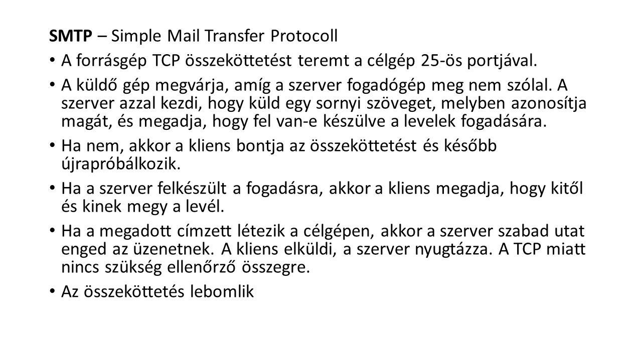 SMTP – Simple Mail Transfer Protocoll A forrásgép TCP összeköttetést teremt a célgép 25-ös portjával. A küldő gép megvárja, amíg a szerver fogadógép m