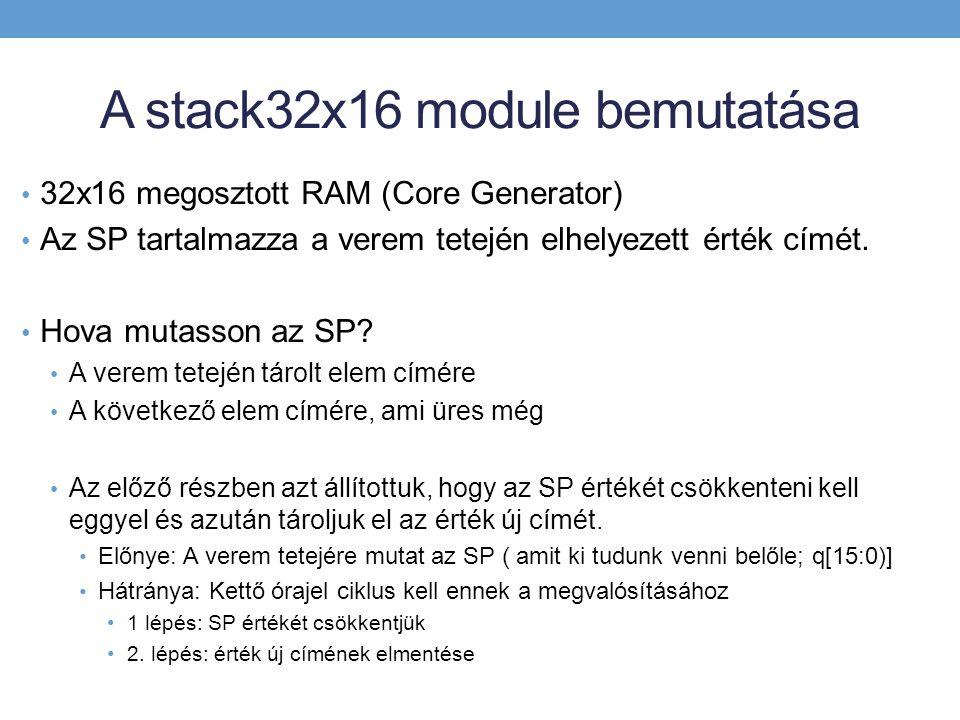 A stack32x16 module bemutatása 32x16 megosztott RAM (Core Generator) Az SP tartalmazza a verem tetején elhelyezett érték címét.