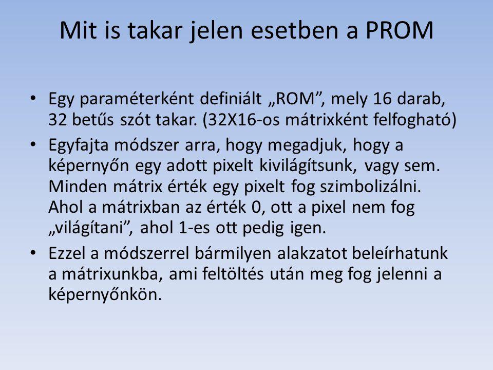 """Mit is takar jelen esetben a PROM Egy paraméterként definiált """"ROM , mely 16 darab, 32 betűs szót takar."""