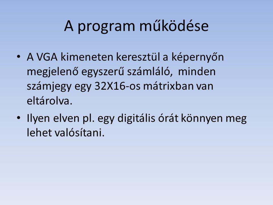 A program működése A VGA kimeneten keresztül a képernyőn megjelenő egyszerű számláló, minden számjegy egy 32X16-os mátrixban van eltárolva.
