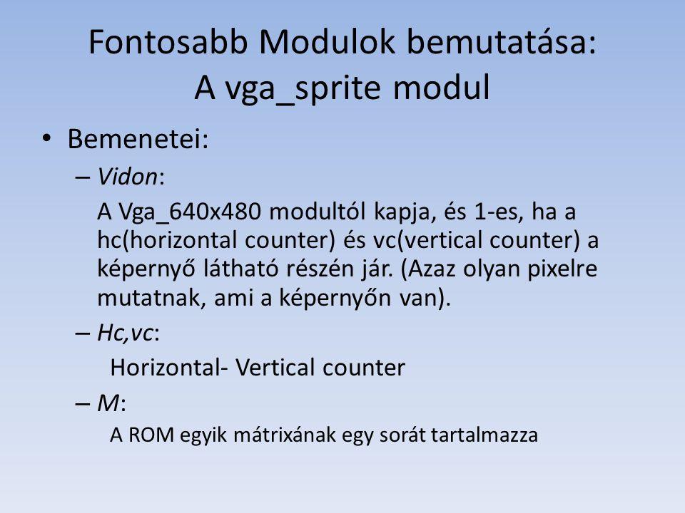 Fontosabb Modulok bemutatása: A vga_sprite modul Bemenetei: – Vidon: A Vga_640x480 modultól kapja, és 1-es, ha a hc(horizontal counter) és vc(vertical counter) a képernyő látható részén jár.
