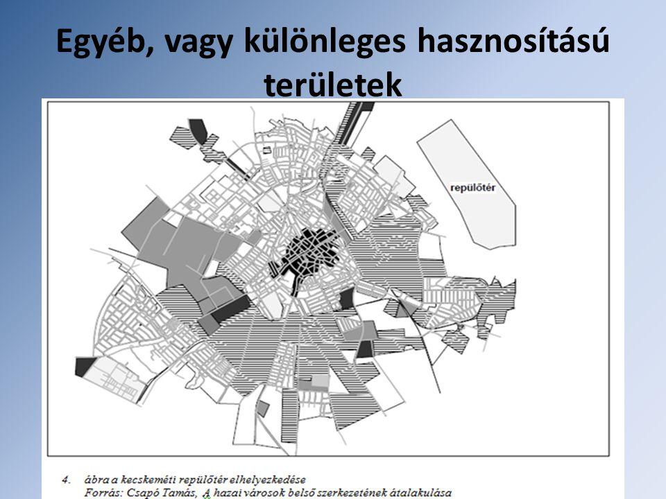 Egyéb, vagy különleges hasznosítású területek Ezek nem képeznek önálló funkcionális övet. Katonai objektumok Fegyintézetek Repülőterek