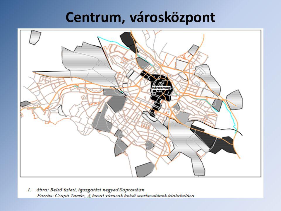 Centrum, városközpont Területe kiterjedt, funkcionálisan egyre inkább tekinthető belső munkahelyi övnek. Két részre tagolható: Központi üzleti negyed