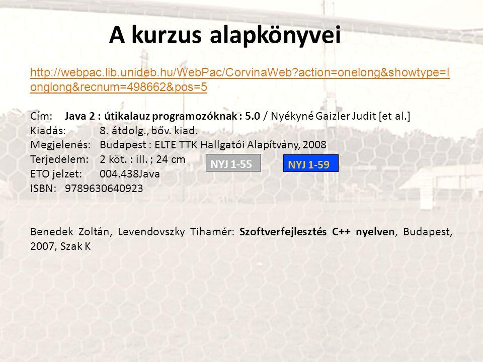 http://webpac.lib.unideb.hu/WebPac/CorvinaWeb?action=onelong&showtype=l onglong&recnum=498662&pos=5 Cím:Java 2 : útikalauz programozóknak : 5.0 / Nyékyné Gaizler Judit [et al.] Kiadás:8.