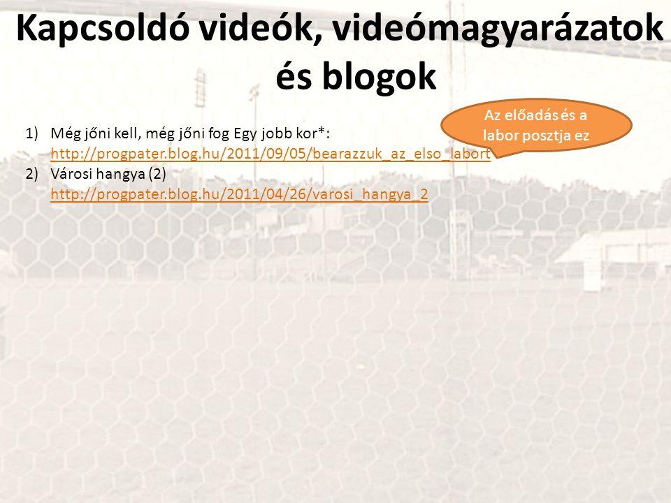 Kapcsoldó videók, videómagyarázatok és blogok 1)Még jőni kell, még jőni fog Egy jobb kor*: http://progpater.blog.hu/2011/09/05/bearazzuk_az_elso_labort http://progpater.blog.hu/2011/09/05/bearazzuk_az_elso_labort 2)Városi hangya (2) http://progpater.blog.hu/2011/04/26/varosi_hangya_2 http://progpater.blog.hu/2011/04/26/varosi_hangya_2 Az előadás és a labor posztja ez