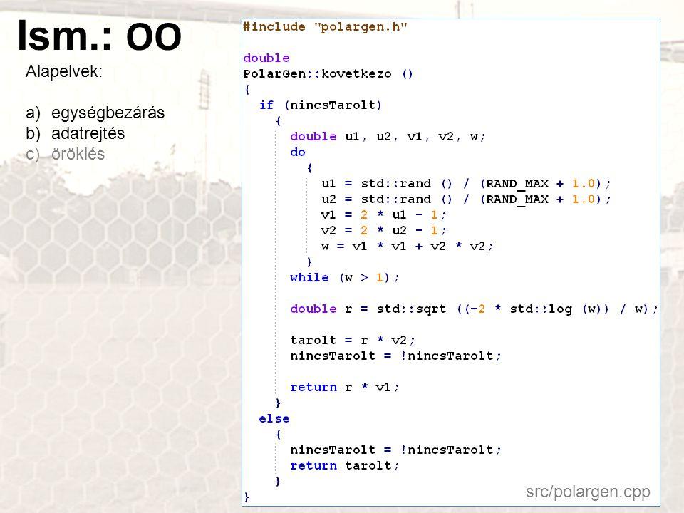 Ism.: OO Alapelvek: a)egységbezárás b)adatrejtés c)öröklés src/polargen.cpp