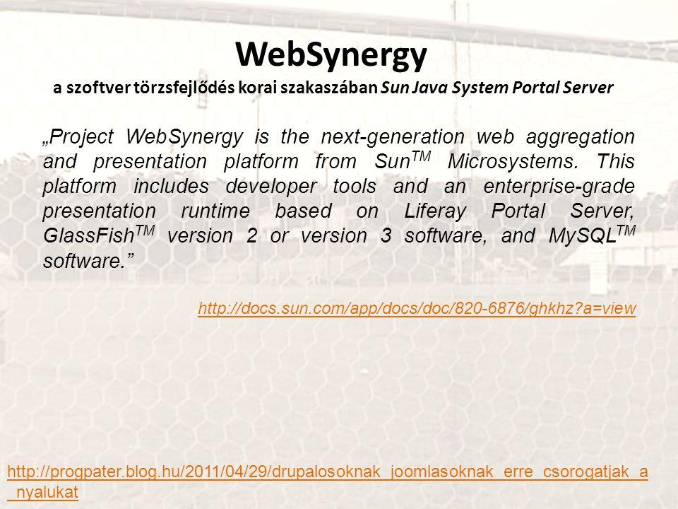 """WebSynergy a szoftver törzsfejlődés korai szakaszában Sun Java System Portal Server """"Project WebSynergy is the next-generation web aggregation and presentation platform from Sun TM Microsystems."""