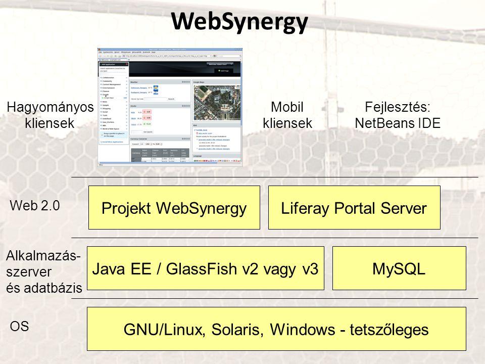 GNU/Linux, Solaris, Windows - tetszőleges Java EE / GlassFish v2 vagy v3 Projekt WebSynergy MySQL OS Alkalmazás- szerver és adatbázis Liferay Portal Server Web 2.0 Hagyományos kliensek Mobil kliensek Fejlesztés: NetBeans IDE WebSynergy