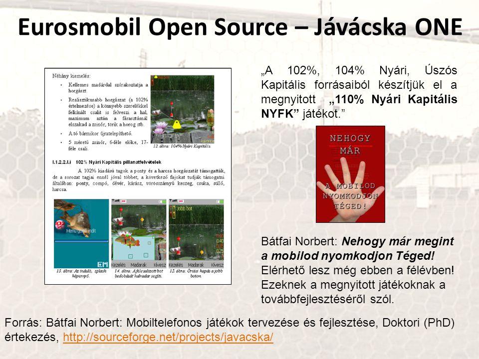 """Forrás: Bátfai Norbert: Mobiltelefonos játékok tervezése és fejlesztése, Doktori (PhD) értekezés, http://sourceforge.net/projects/javacska/http://sourceforge.net/projects/javacska/ Eurosmobil Open Source – Jávácska ONE """"A 102%, 104% Nyári, Úszós Kapitális forrásaiból készítjük el a megnyitott """"110% Nyári Kapitális NYFK játékot. Bátfai Norbert: Nehogy már megint a mobilod nyomkodjon Téged."""