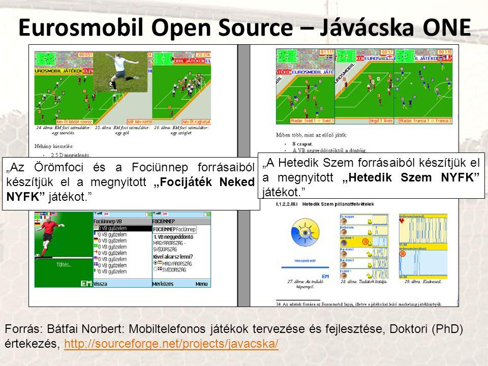 """""""Az Örömfoci és a Fociünnep forrásaiból készítjük el a megnyitott """"Focijáték Neked NYFK játékot. """"A Hetedik Szem forrásaiból készítjük el a megnyitott """"Hetedik Szem NYFK játékot. Eurosmobil Open Source – Jávácska ONE Forrás: Bátfai Norbert: Mobiltelefonos játékok tervezése és fejlesztése, Doktori (PhD) értekezés, http://sourceforge.net/projects/javacska/http://sourceforge.net/projects/javacska/"""