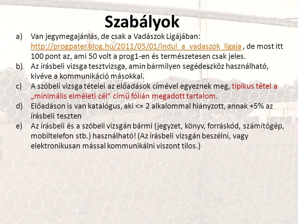 Szabályok a)Van jegymegajánlás, de csak a Vadászok Ligájában: http://progpater.blog.hu/2011/05/01/indul_a_vadaszok_ligaja, de most itt 100 pont az, ami 50 volt a prog1-en és természetesen csak jeles.