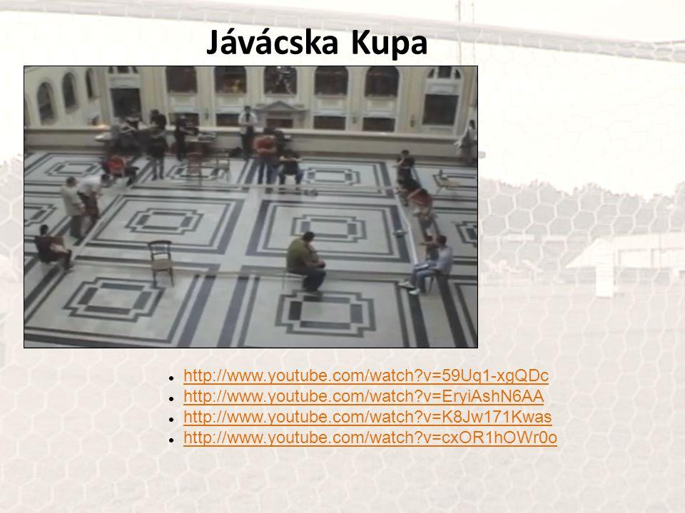 Jávácska Kupa http://www.youtube.com/watch?v=59Uq1-xgQDc http://www.youtube.com/watch?v=EryiAshN6AA http://www.youtube.com/watch?v=K8Jw171Kwas http://www.youtube.com/watch?v=cxOR1hOWr0o