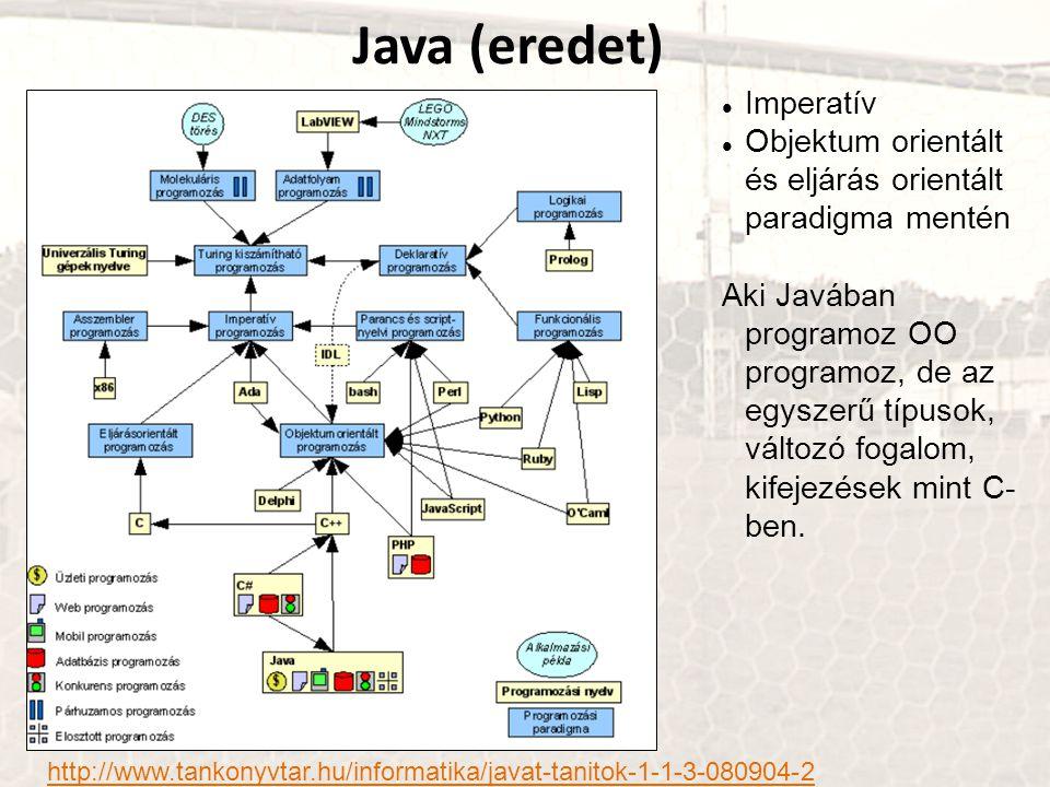 Java (eredet) http://www.tankonyvtar.hu/informatika/javat-tanitok-1-1-3-080904-2 Imperatív Objektum orientált és eljárás orientált paradigma mentén Aki Javában programoz OO programoz, de az egyszerű típusok, változó fogalom, kifejezések mint C- ben.