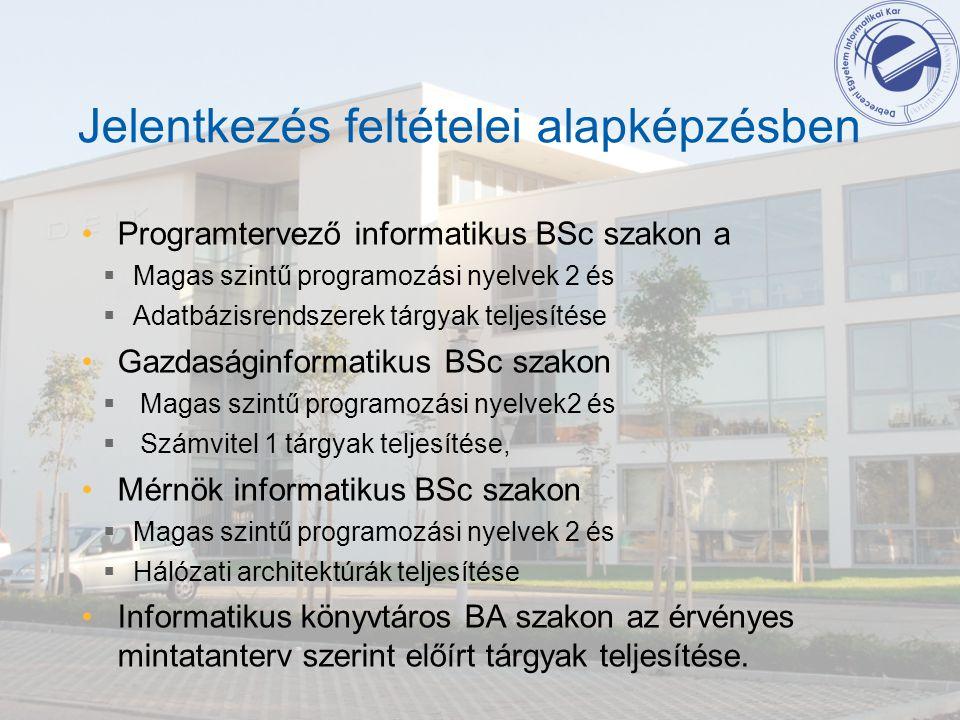 Jelentkezés feltételei alapképzésben Programtervező informatikus BSc szakon a  Magas szintű programozási nyelvek 2 és  Adatbázisrendszerek tárgyak t