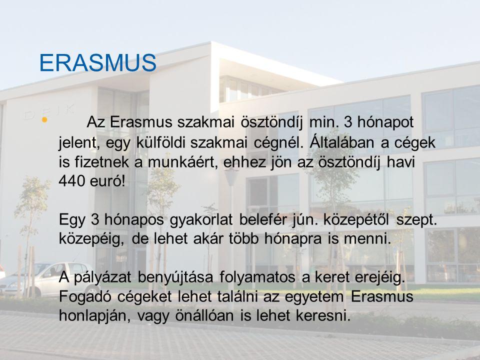 ERASMUS Az Erasmus szakmai ösztöndíj min. 3 hónapot jelent, egy külföldi szakmai cégnél. Általában a cégek is fizetnek a munkáért, ehhez jön az ösztön