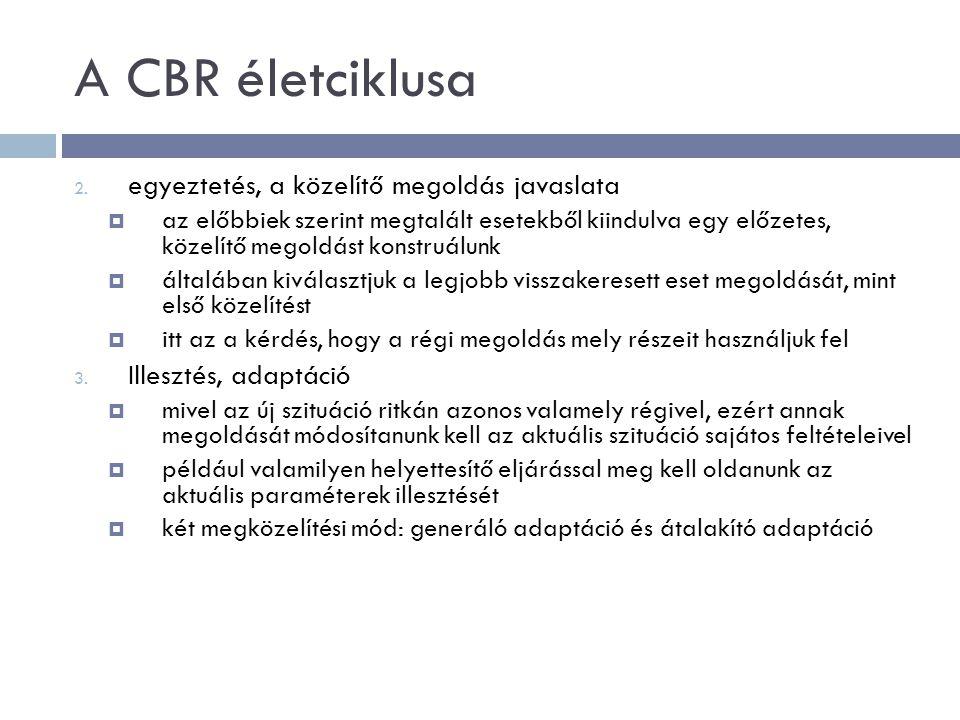 A CBR életciklusa 2. egyeztetés, a közelítő megoldás javaslata  az előbbiek szerint megtalált esetekből kiindulva egy előzetes, közelítő megoldást ko