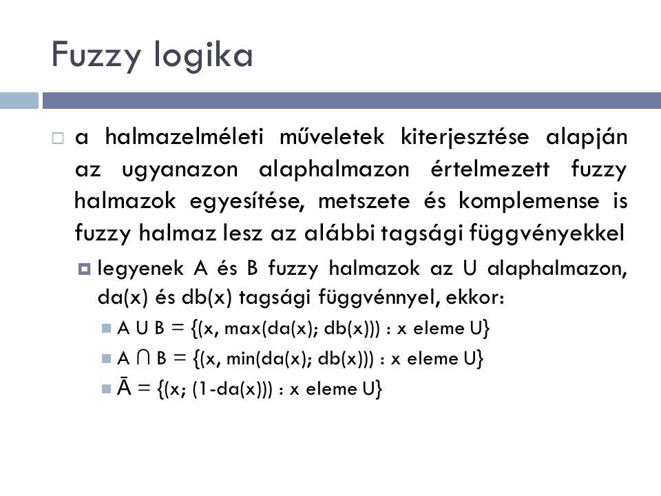 Fuzzy logika  a halmazelméleti műveletek kiterjesztése alapján az ugyanazon alaphalmazon értelmezett fuzzy halmazok egyesítése, metszete és komplemense is fuzzy halmaz lesz az alábbi tagsági függvényekkel  legyenek A és B fuzzy halmazok az U alaphalmazon, da(x) és db(x) tagsági függvénnyel, ekkor: A U B = {(x, max(da(x); db(x))) : x eleme U} A ∩ B = {(x, min(da(x); db(x))) : x eleme U} Ā = {(x; (1-da(x))) : x eleme U}