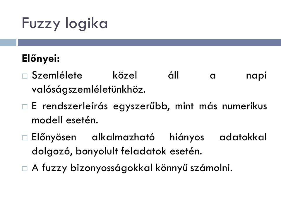 Fuzzy logika Előnyei:  Szemlélete közel áll a napi valóságszemléletünkhöz.