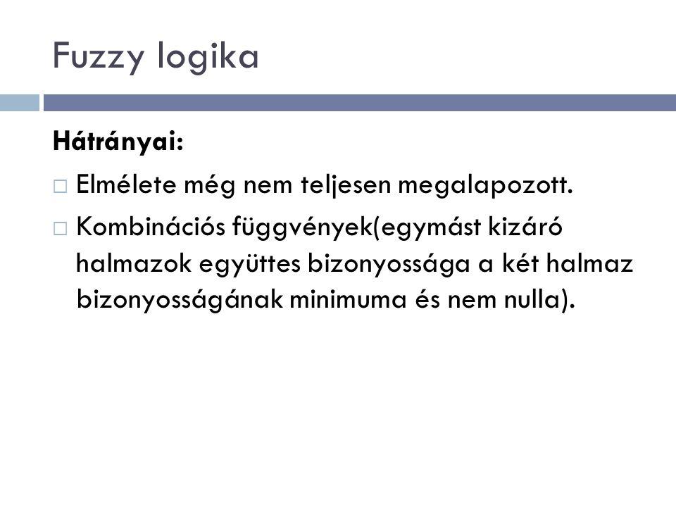 Fuzzy logika Hátrányai:  Elmélete még nem teljesen megalapozott.