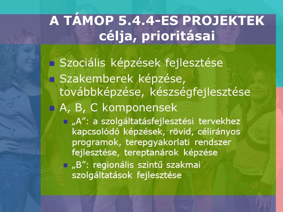"""A TÁMOP 5.4.4-ES PROJEKTEK célja, prioritásai Szociális képzések fejlesztése Szakemberek képzése, továbbképzése, készségfejlesztése A, B, C komponensek """"A : a szolgáltatásfejlesztési tervekhez kapcsolódó képzések, rövid, célirányos programok, terepgyakorlati rendszer fejlesztése, tereptanárok képzése """"B : regionális szintű szakmai szolgáltatások fejlesztése"""