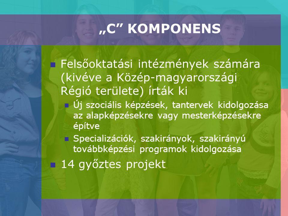 """""""C KOMPONENS Felsőoktatási intézmények számára (kivéve a Közép-magyarországi Régió területe) írták ki Új szociális képzések, tantervek kidolgozása az alapképzésekre vagy mesterképzésekre építve Specializációk, szakirányok, szakirányú továbbképzési programok kidolgozása 14 győztes projekt"""