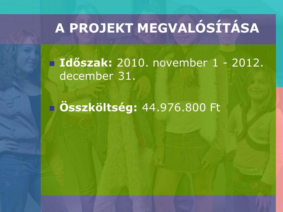 A PROJEKT MEGVALÓSÍTÁSA Időszak: 2010. november 1 - 2012. december 31. Összköltség: 44.976.800 Ft