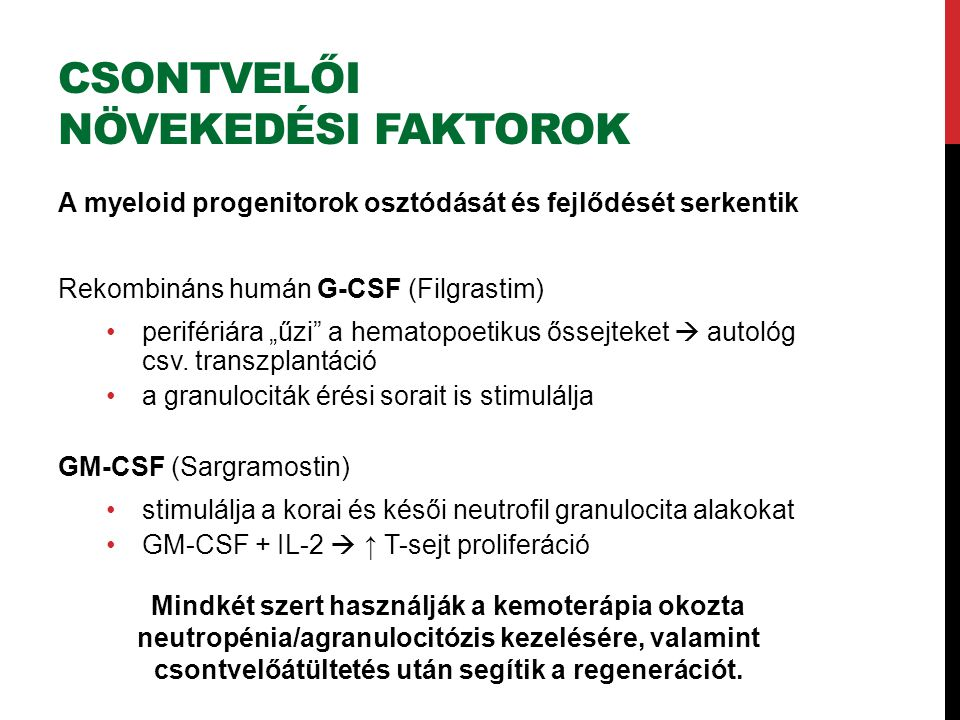 """CSONTVELŐI NÖVEKEDÉSI FAKTOROK A myeloid progenitorok osztódását és fejlődését serkentik Rekombináns humán G-CSF (Filgrastim) perifériára """"űzi a hematopoetikus őssejteket  autológ csv."""