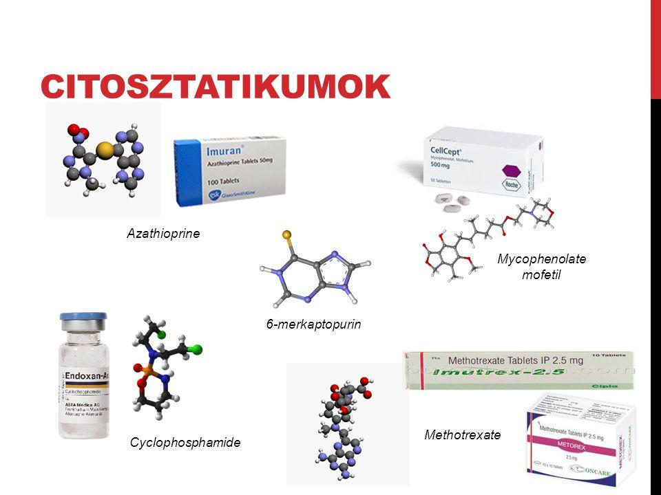 Azathioprine Cyclophosphamide Mycophenolate mofetil 6-merkaptopurin Methotrexate CITOSZTATIKUMOK