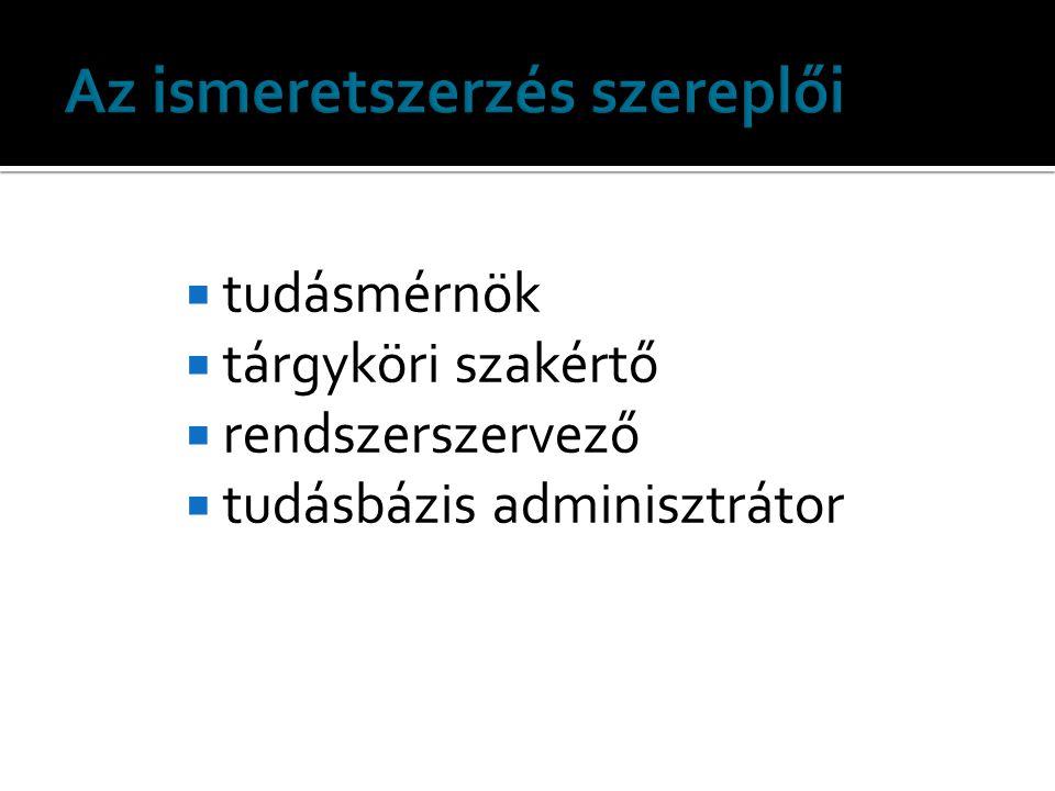  tudásmérnök  tárgyköri szakértő  rendszerszervező  tudásbázis adminisztrátor