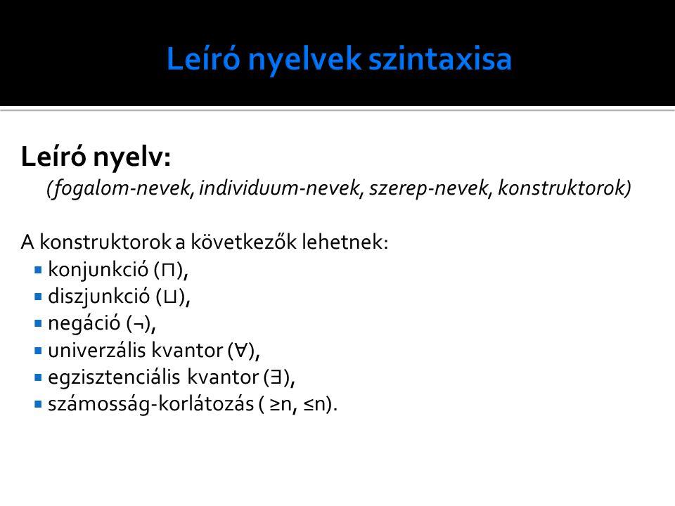 Leíró nyelv: (fogalom-nevek, individuum-nevek, szerep-nevek, konstruktorok) A konstruktorok a következők lehetnek:  konjunkció ( ⊓ ),  diszjunkció (