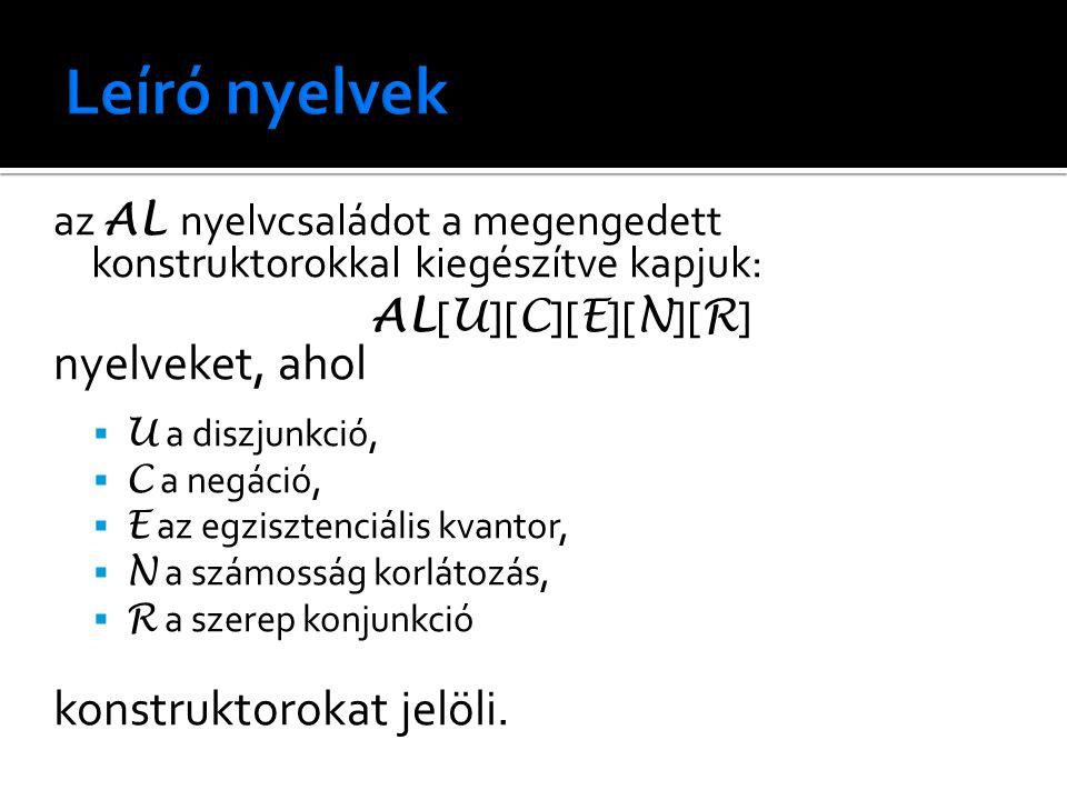 az AL nyelvcsaládot a megengedett konstruktorokkal kiegészítve kapjuk: AL [ U ][ C ][ E ][ N ][ R ] nyelveket, ahol  U a diszjunkció,  C a negáció,
