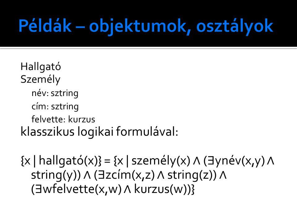 Hallgató Személy név: sztring cím: sztring felvette: kurzus klasszikus logikai formulával: {x | hallgató(x)} = {x | személy(x) ∧ ( ∃ ynév(x,y) ∧ strin