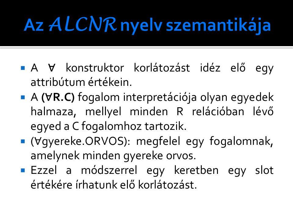  A ∀ konstruktor korlátozást idéz elő egy attribútum értékein.  A ( ∀ R.C) fogalom interpretációja olyan egyedek halmaza, mellyel minden R relációba