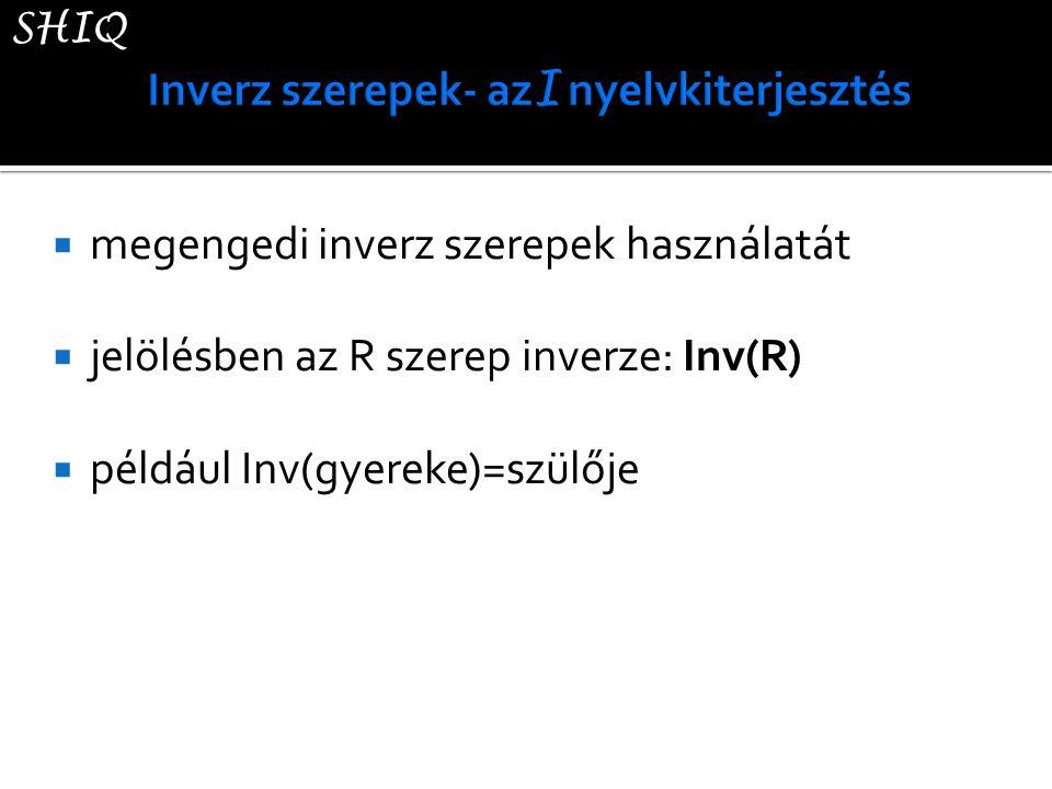  megengedi inverz szerepek használatát  jelölésben az R szerep inverze: Inv(R)  például Inv(gyereke)=szülője SHIQ