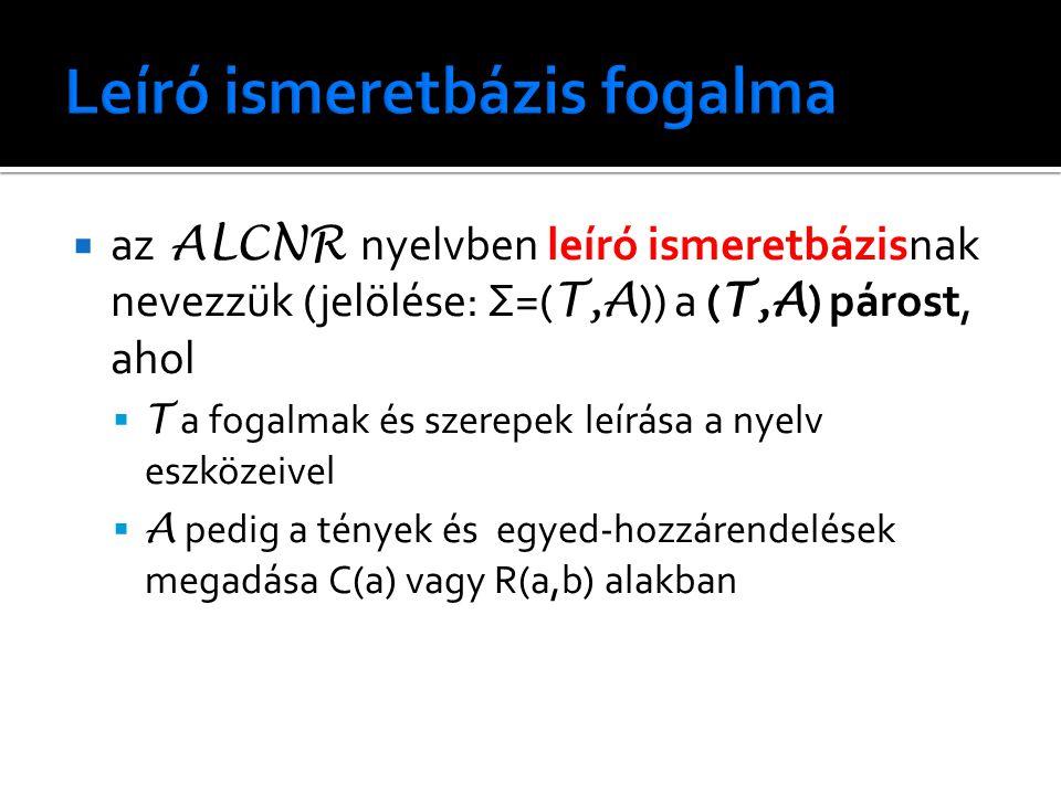 az ALCNR nyelvben leíró ismeretbázisnak nevezzük (jelölése: Σ=( T,A )) a ( T,A ) párost, ahol  T a fogalmak és szerepek leírása a nyelv eszközeivel