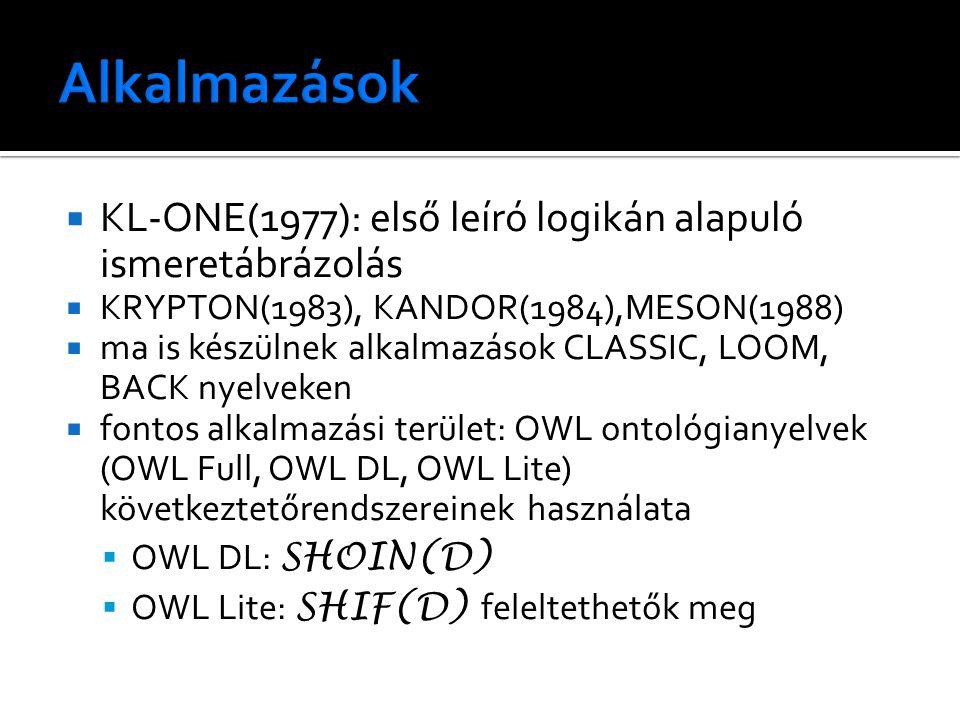  KL-ONE(1977): első leíró logikán alapuló ismeretábrázolás  KRYPTON(1983), KANDOR(1984),MESON(1988)  ma is készülnek alkalmazások CLASSIC, LOOM, BA