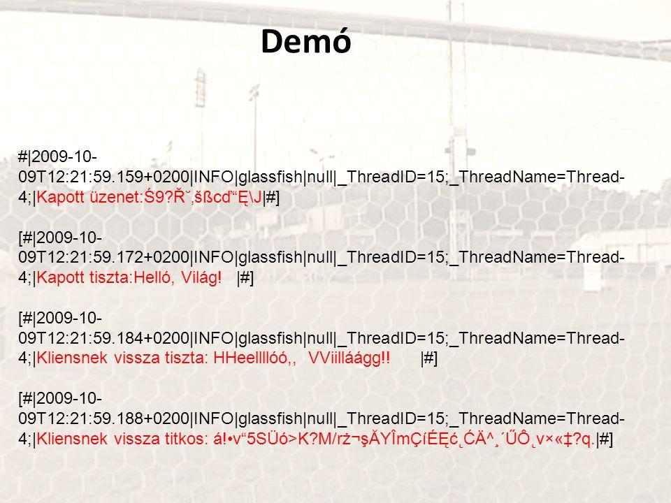 #|2009-10- 09T12:21:59.159+0200|INFO|glassfish|null|_ThreadID=15;_ThreadName=Thread- 4;|Kapott üzenet:Ś9?آ'šßcď Ę\J|#] [#|2009-10- 09T12:21:59.172+0200|INFO|glassfish|null|_ThreadID=15;_ThreadName=Thread- 4;|Kapott tiszta:Helló, Világ.