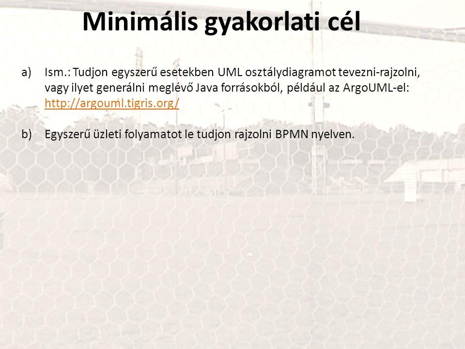 Minimális gyakorlati cél a)Ism.: Tudjon egyszerű esetekben UML osztálydiagramot tevezni-rajzolni, vagy ilyet generálni meglévő Java forrásokból, például az ArgoUML-el: http://argouml.tigris.org/ http://argouml.tigris.org/ b)Egyszerű üzleti folyamatot le tudjon rajzolni BPMN nyelven.