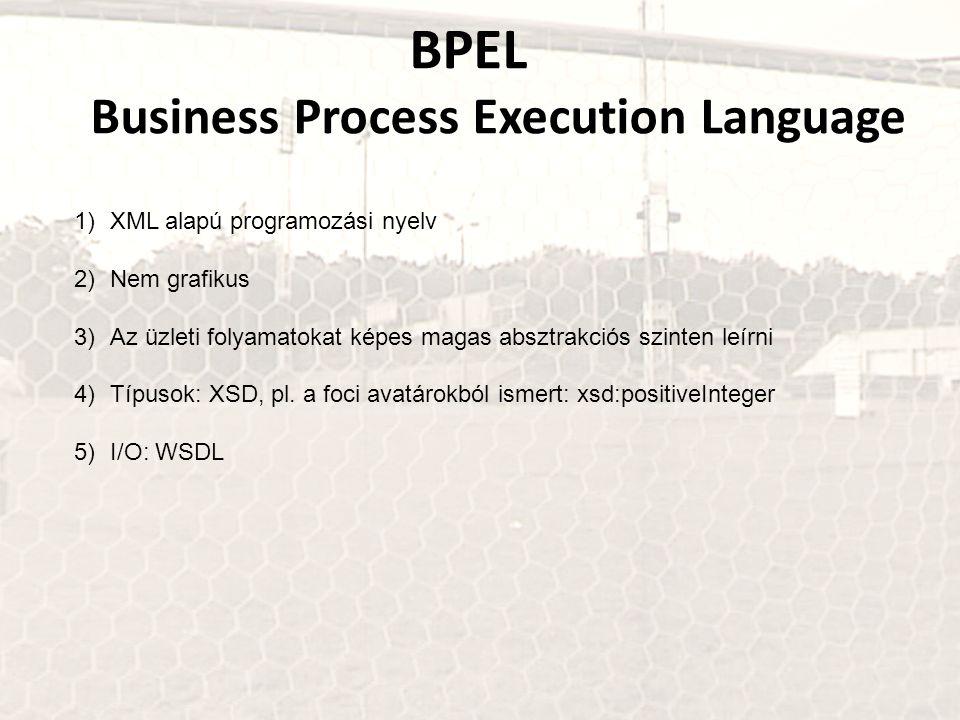 BPEL Business Process Execution Language 1)XML alapú programozási nyelv 2)Nem grafikus 3)Az üzleti folyamatokat képes magas absztrakciós szinten leírni 4)Típusok: XSD, pl.