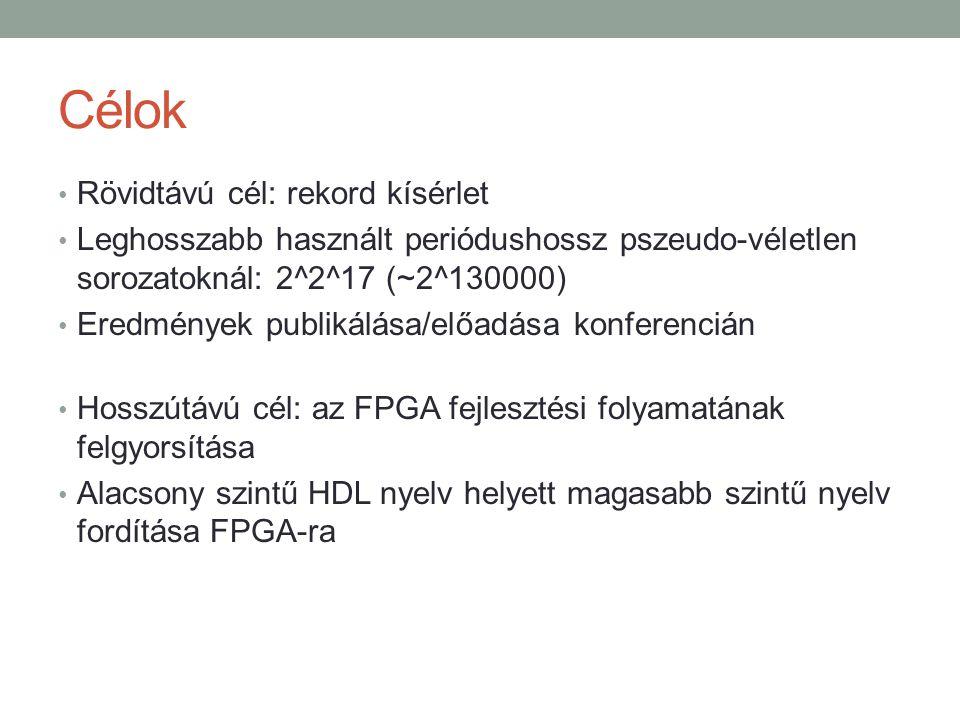 Célok Rövidtávú cél: rekord kísérlet Leghosszabb használt periódushossz pszeudo-véletlen sorozatoknál: 2^2^17 (~2^130000) Eredmények publikálása/előadása konferencián Hosszútávú cél: az FPGA fejlesztési folyamatának felgyorsítása Alacsony szintű HDL nyelv helyett magasabb szintű nyelv fordítása FPGA-ra