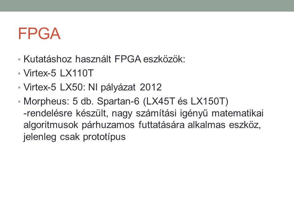 FPGA Kutatáshoz használt FPGA eszközök: Virtex-5 LX110T Virtex-5 LX50: NI pályázat 2012 Morpheus: 5 db. Spartan-6 (LX45T és LX150T) -rendelésre készül