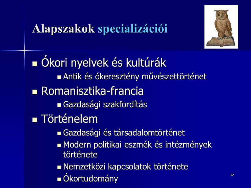 12 Alapszakok specializációi Ókori nyelvek és kultúrák Ókori nyelvek és kultúrák Antik és ókeresztény művészettörténet Antik és ókeresztény művészettö