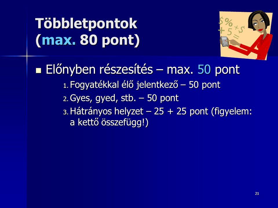 21 Többletpontok (max. 80 pont) Előnyben részesítés – max. 50 pont Előnyben részesítés – max. 50 pont 1. Fogyatékkal élő jelentkező – 50 pont 2. Gyes,